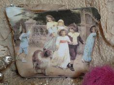 FREE SHIPPING Victorian Children  Makeup Bag Zipper by Maisonvogue, $25.00