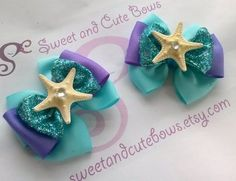 Ariel The Little Mermaid Hair Bows attached to por SweetandCuteBows