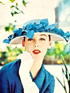 """the Ladies Home Journal in March, """"The leaf hat in blue by John Frederics, with a wearable, medium-sized brim, worn with a linen-weave silk dress by Mollie Parmis. 1950s Fashion Women, Retro Fashion, Vintage Fashion, Fifties Fashion, Vintage Style, Women's Fashion, Vintage Glamour, Vintage Beauty, 1950s Hats"""