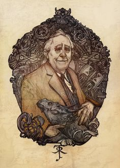 J.R.R Tolkien.  I love how he's holding a dragon.  :)