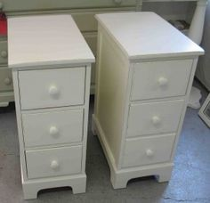 Narrow bedside tables. Perfect for a small space. Still offers plenty of storage.