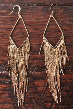 fringe gold earrings. Download the #FashEngage iPhone App in the iTunes App Store!