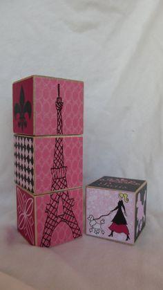 Paris Pink Black Girls Poodle 4 Wood Blocks by TheBlockSpot Pink Black, Black Girls, Paris Theme, Paris Decor, Paris Party, Nursery Room Decor, Paris Nursery, Maternity Photo Props, Little Cherubs