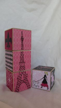 Paris Pink Black Girls Poodle 4 Wood Blocks by TheBlockSpot, $18.00