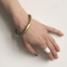 Image of Brass/Hide Halfsie Bracelet