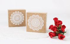 Lace Stamp Set  Wooden Rubber Stamps  Korean Stamps  by mieryaw, $5.40