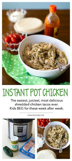 Easy Instant Pot shredded chicken for the best chicken tacos ever. Includes instructions for slow cooker chicken, too. Leftovers freeze great so you can double batch it. But, with only 3 ingredients and 15 minutes, you can get chicken tacos on the table on a busy school night! #instantpot #chickenrecipes #shreddedchicken #easyrecipes #familydinner #tacotuesday