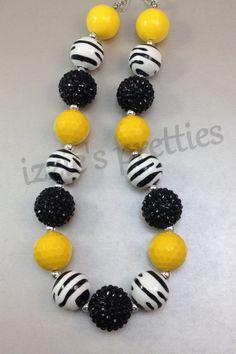 Yellow Zebra Chunky Bubblegum Necklace ($17) #IzziesPretties https://www.etsy.com/listing/177742910/yellow-zebra-chunky-bubblegum-necklace?ref=listing-shop-header-1