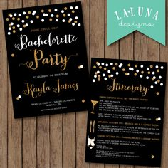 Bachelorette Party Invitation with Itinerary, Bachelorette Weekend Invitation, Glitter Bachelorette Invitation, Hens Party Invitation by LaLunaDesigns on Etsy https://www.etsy.com/listing/203119327/bachelorette-party-invitation-with