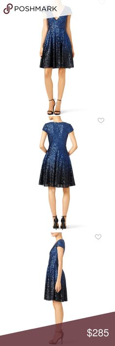 Natasha dress by Badgley Mischka sequined dress Natasha dress by Badgley Mischka sequined navy ombré dress in size 4, please see pics with measurements condition is like new worn only once. Badgley Mischka Dresses Mini
