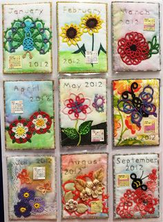 (links to Singtatter's blog) Very very inspiring.. Never thought to display tatting like this, multi-media style :)! Singtatter's Corner: Fabric ATC Calendar with Tatting