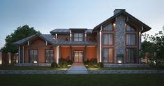 Проект дома в стиле шале - современный загородный деревянный дом из бруса; отлично подходит для постоянного проживания и рассчитан на большую семью от 6 человек с возможностью принимать гостей.