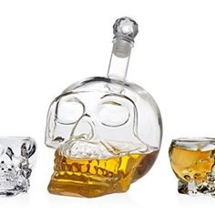 STUDIO SILVERSMITHS SKULL SET 4 SHOT GLASS DECANTER