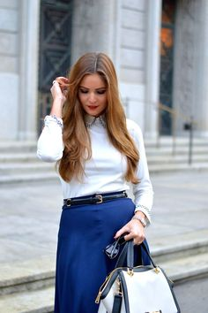 White shirt and blue skirt work style