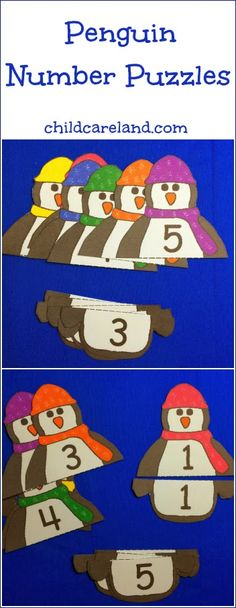 Free number puzzle match up. I love the penguins!!