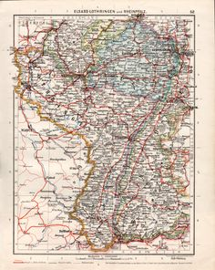 Alsace Lorraine France and Germany Region Map deeAuvil Places