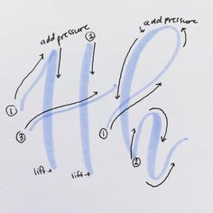 Letter H ♥ Brush lettering. Start with crayola markers Calligraphy Tutorial, Hand Lettering Tutorial, How To Write Calligraphy, Calligraphy Handwriting, Calligraphy Letters, Penmanship, How To Caligraphy, Cursive, Hand Lettering Alphabet