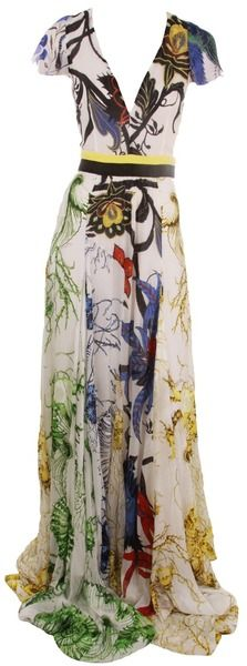 ROBERTO CAVALLI Cap Sleeve Deep V Print Dress - Lyst