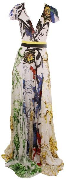 ROBERTO CAVALLI Cap Sleeve Deep V Print Dress - Lyst