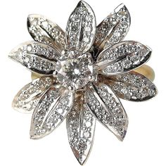 SOLD Stunning natural diamond flower ring in solid white gold, stamped solid yellow gold band Diamond Flower, Diamond Gemstone, Jewelry Rings, Jewelery, Fine Jewelry, Purple Pendants, Swarovski Stones, Vintage Jewelry, Vintage Brooches