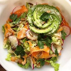 Romaine, carrot ribbon and radish salad with miso vinaigrette, an avocado rose, pumpkin seeds, sesame and cilantro. Want this recipe? Let me know and I'll include it in this week's newsletter!