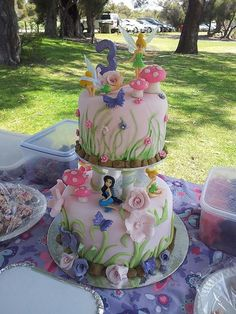 Amys Ambrosial Delights Plus Fairy Birthday Cake, 3rd Birthday Cakes, Princess Birthday, 3 Year Old Birthday Cake, Birthday Ideas, Bolo Tinker Bell, Bolo Fack, Tinkerbell Party, Tangled Party