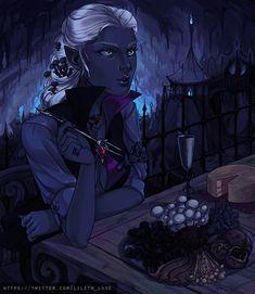 f Drow Elf Druid Lt Armor Patio Dining in the Underdark urban city story d&d DnD med Fantasy Character Design, Character Design Inspiration, Character Concept, Character Art, Concept Art, Fantasy Races, Fantasy Rpg, Dark Fantasy Art, Fantasy Artwork