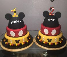 Mickey Mouse Birthday Cakes for Boys!!!  1st Birthday Cake and 2nd Birthday Cake.