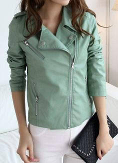adorable mint leather jacket