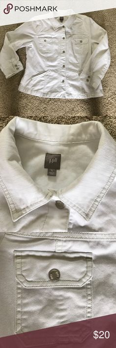 Jjill white denim jacket with beige stitching Very cute denim jacket for cool summer evenings.  Goes with anything.  Has slight stretch to it.  Never been worn and from smoke free home. jjill Jackets & Coats Jean Jackets