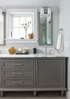 Gray Bathroom Vanity - Rachel Reider Interiors/love the backsplash and NO side panel