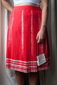 Gorgeous Vintage Red & White Silk Pleated by VintageEffectsNo1