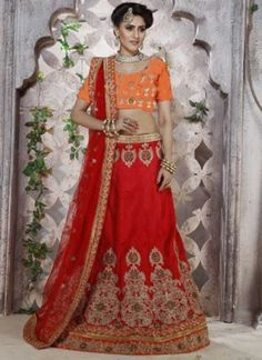 Red Embroidery Stone Work Banglori Silk Designer Party Wear Lehenga Choli http://www.angelnx.com/Lehenga-Choli/Designer-Lehenga-Choli