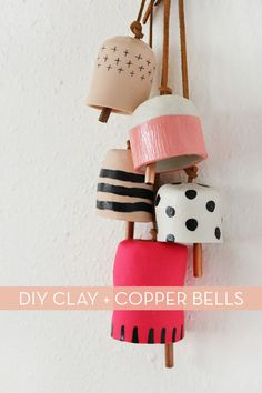 DIY mobile cloches fimo, liens de cuir et tubes de cuivre - Decorative Clay… I've been crushing on the ceramic bells I've seen pop up in a few of my favorite stores. Diy Clay, Clay Crafts, Kids Crafts, Arts And Crafts, Homemade Clay, Clay Projects, Diy Projects To Try, Ceramic Pottery, Ceramic Art