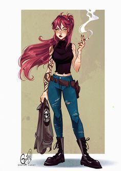 Gretel Lusky Character Design Girl, Character Design Inspiration, Girls Characters, Female Characters, Arte Punk, Arte Sketchbook, Art Anime, Image Manga, Cartoon Art Styles