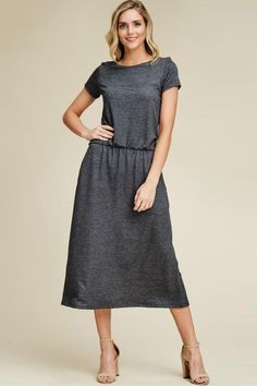 Aynara Fashion French Terry Short Sleeve Pocket Midi Dress