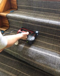 DIY Stair Runner Install - The Sweet BeastYou can find Stair runners and more on our website.DIY Stair Runner Install - The Sweet Beast Basement Stairs, House Stairs, Carpet Stairs, Stairway Carpet, Basement Ideas, Foyers, Staircase Runner, Runners For Stairs, Stairs With Carpet Runner