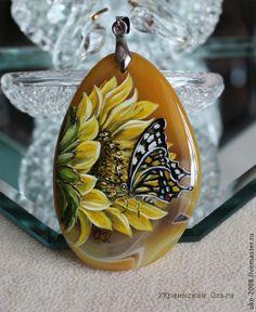 "Кулон с росписью ""Подсолнух"" - жёлтый,подсолнух,бабочка на подсолнухе"