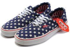 41a9cf15af7 Vans Authentic American Flag Blue Canvas White Stars Skate Shoes  36  -   39.99