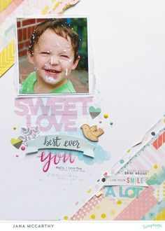 """Sweet Love"" layout by Jana Maiwald-McCarthy using the ""Cake by the Ocean"" Kit May 2016"