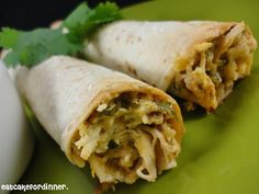 Baked Creamy Chicken Taquitos with Creamy Cilantro-Lime Ranch Dressing