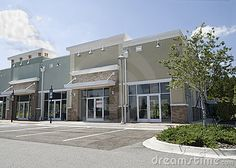 Photo about Pastel, upscale strip mall with stone accents and large glass windows. Image of green, mall, strip - 18430284 Building Front, Mix Use Building, Building Exterior, Building Facade, Building Design, Building Renovation, Building Ideas, Plaza Design, Mall Design