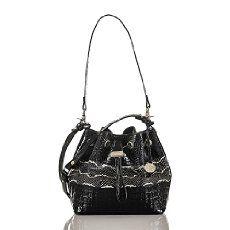 Maxine Drawstring Bag in Black Mandana