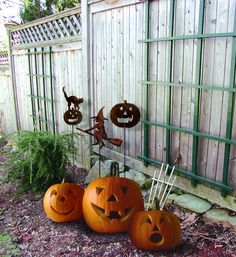 Wrought Iron Rusted Cat & Pumpkin Garden Stake 35 In - Find at Wrought Iron Haven products such as garden stakes, garden decor, outdoor garden decor, garden ornaments, garden art.