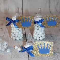 Little Prince Baby Bottle Favors in Royal Blue & Glitter Gold - Set of 12 - Baby Shower by LovinglyMine