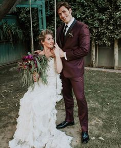 Burgundy tuxedo for a vintage jewel toned wedding