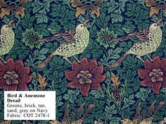 Historic Style - Bird & Anemone, by William Morris