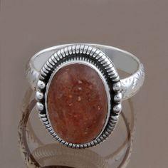 925 SOLID STERLING SILVER DESIGNER SUN STONE RING 5.50g DJR8477 S-7 #Handmade #Ring