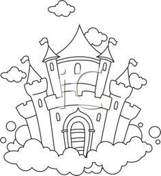Castle Clipart - Illustration by BNP Design Studio Disney Castle Logo, Disney Castle Drawing, Castle Drawing Easy, Free Clipart Images, Royalty Free Clipart, Cloud Drawing, Line Drawing, Colouring Pages, Coloring Books