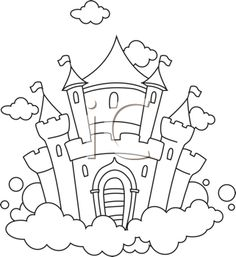 Royalty Free Clipart Image of a Castle on a Cloud